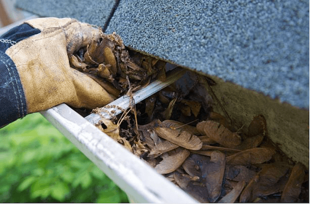 cleaning a gutter on a home in greenfield
